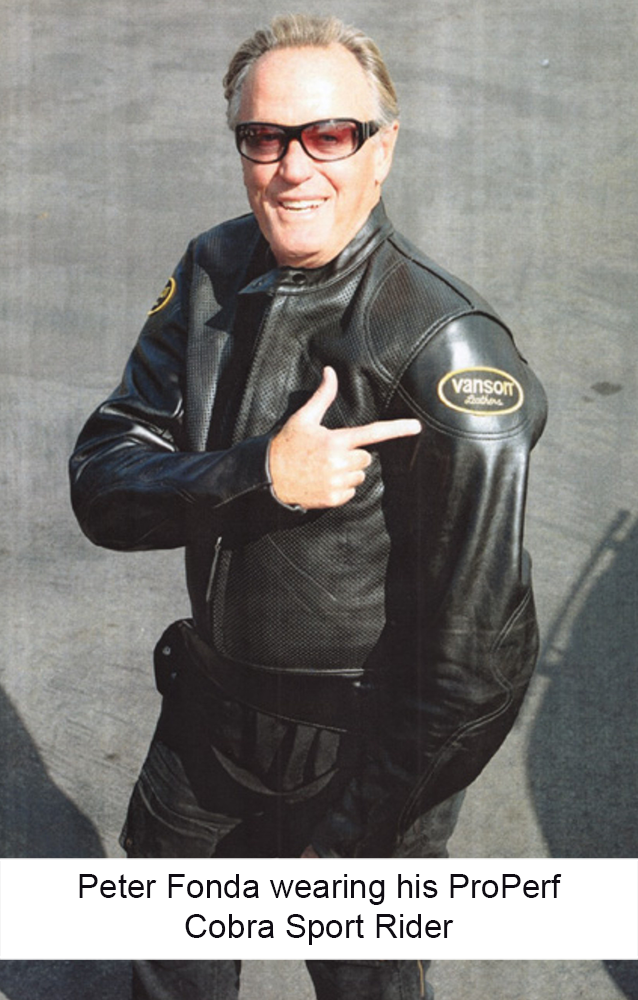 Peter Fonda wearing his personal Vanson Cobra Leather Jacket