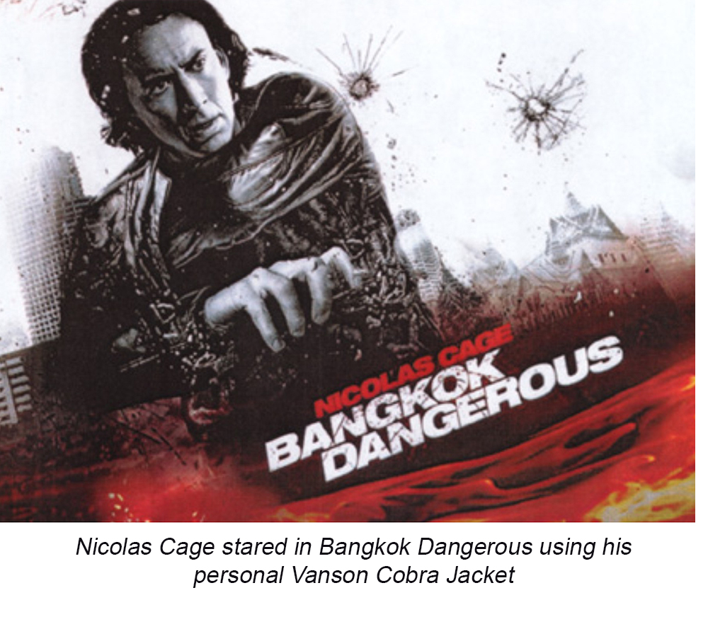 Nicolas Cage wearing his personal Cobra Leather Jacket in Bancock Dangerous