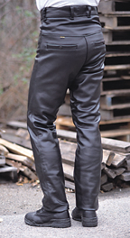 2054d557b4 These are high-waist touring pants made from heavy-weight cowhide that are  intended to be worn over boots.