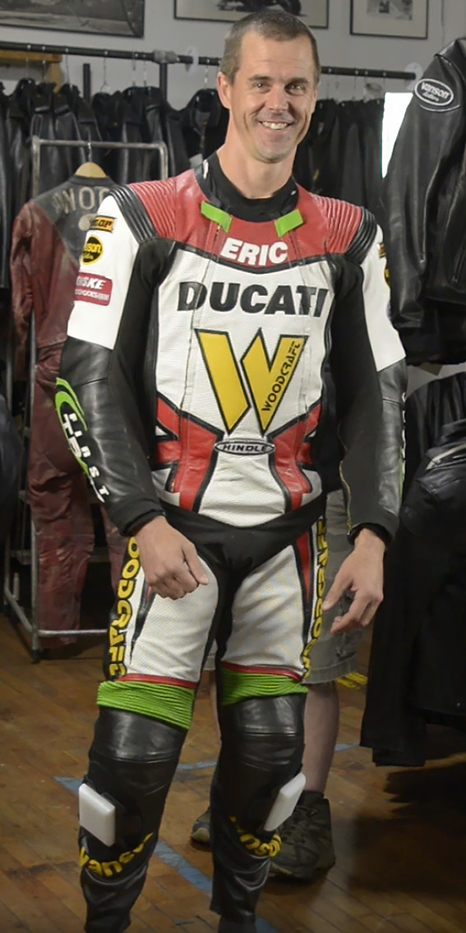Eric Wood with his new Vanson custom Air-Pro air bag racing suit built for the Ducati sponsored Penquin Racing School