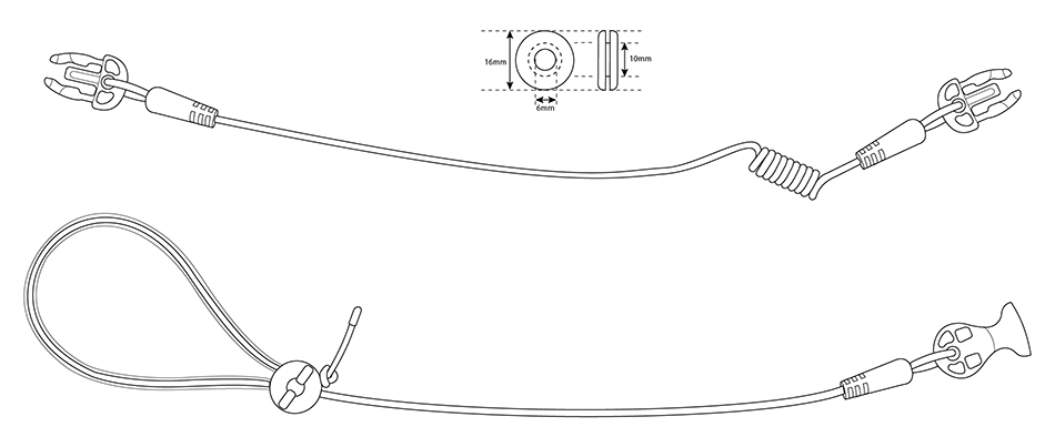 illustration of the Air-Pro 2 piece lanyard for trigger mechanism in a Vanson airbag road racing suit