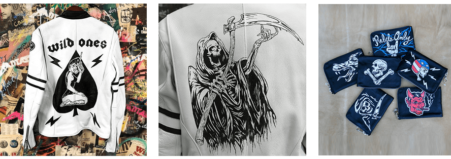 Examples of Badtaste designs done on Vanson leather jackets