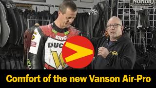 Eric Wood and Matt Silva discuss the comfort of the new Vanson Air-Pro Air bag racing suit