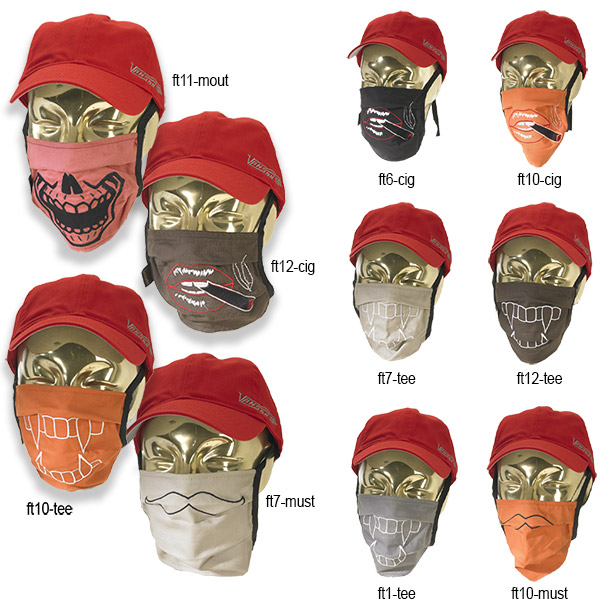 assorted images of Vanson embroidered sugical face masks