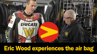 Eric Wood prepares to experience what the Air=Pro air bag suit feels like when the trigger is activated by Matt Silva of Vanson Leathers