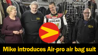 Mike Van der Sleesen introduces Vanson's new Air-pro air bag suit. to his left is Eric Wood and his new Woodcraft Air-Pro suit.