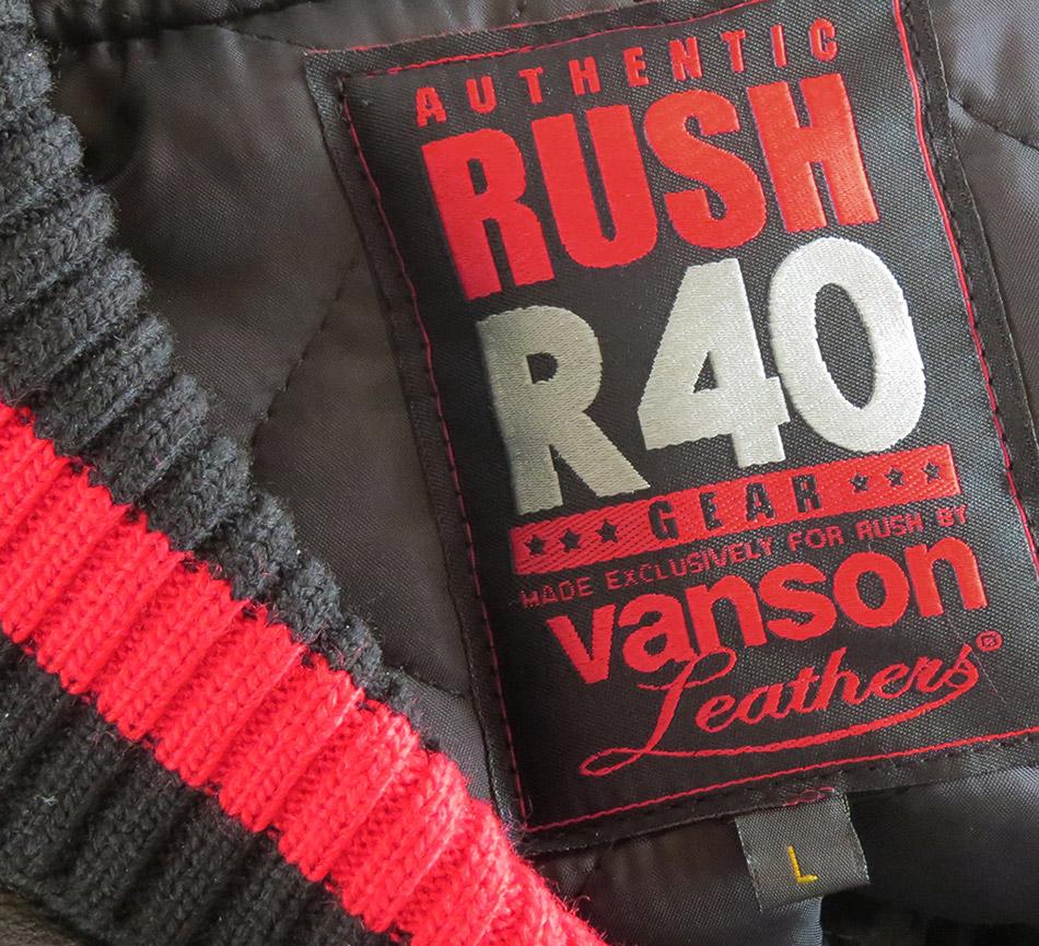 Vanson limited edition Rush R40 jacket tab