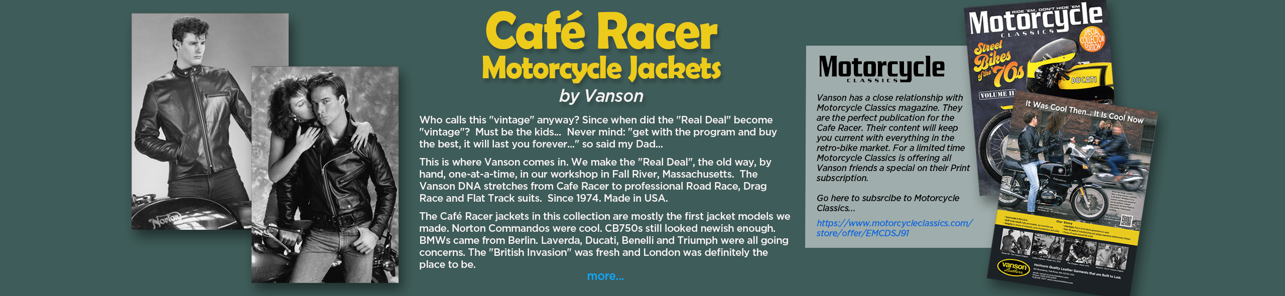 Café Racer Motorcycle Jackets by Vanson