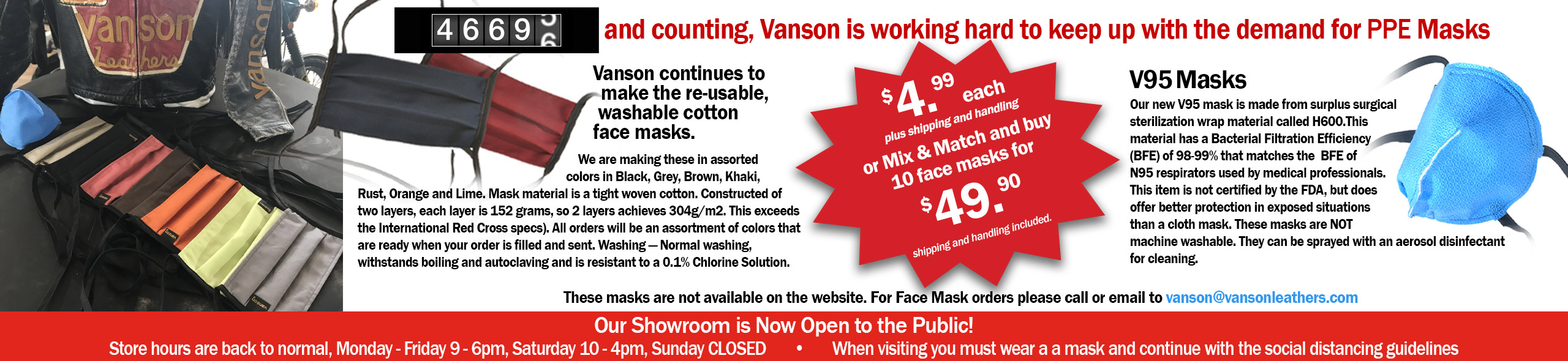 No Fooling... Vanson has PPE 4U - Buy ten masks 49.90