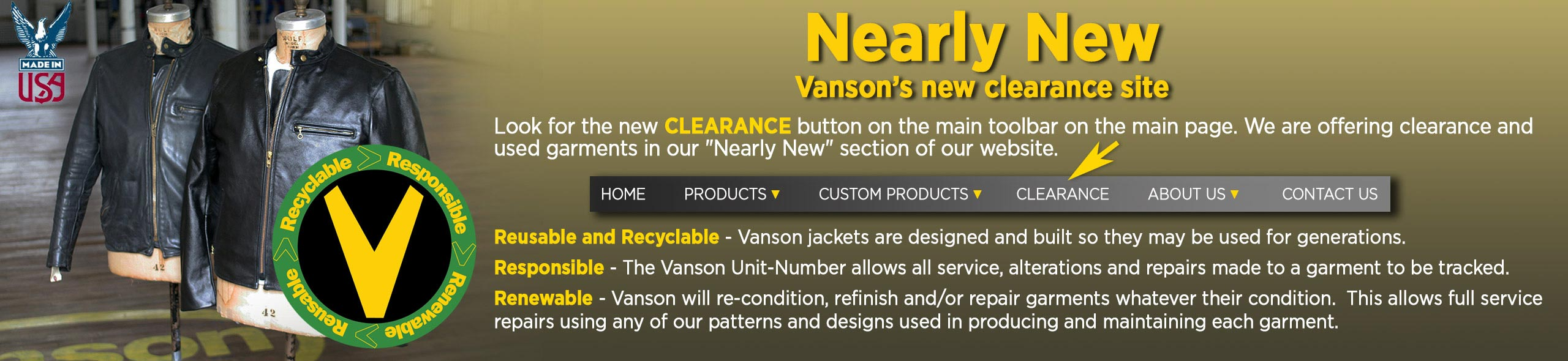 Nearly New, Vanson's new clearance site