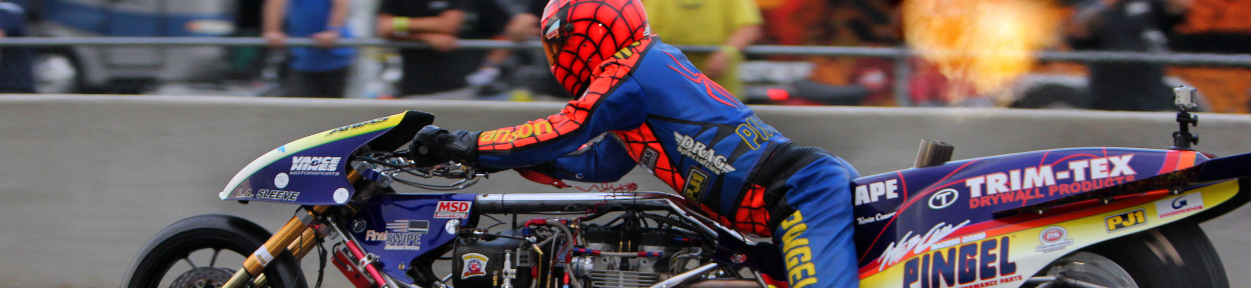 Spiderman Larry McBride trusts his Vanson Drag Racing Leathers